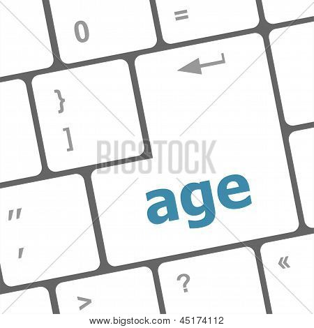 Age Keyboard Key Button Showing Forever Young Concept, art illustration