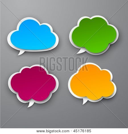 Vector illustration of color paper clouds. Eps10.