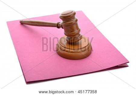 Judge gavel and soundboard on lawsuit file isolated on white background