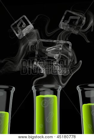 music download icon formed by smoke