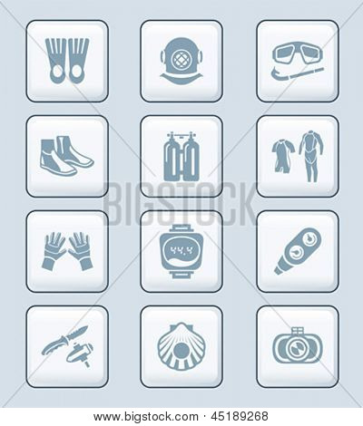 Scuba diving clothing, gear and tools icon-set