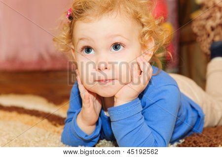 Cute Baby Girl Leaning On Her Hands