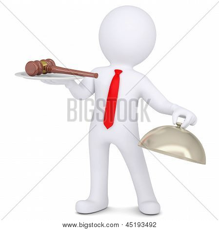 3d man holding a gavel on a platter