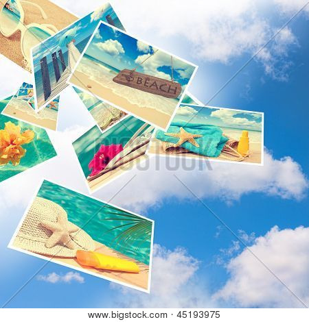 Floating summer postcards against a blue cloudy sky
