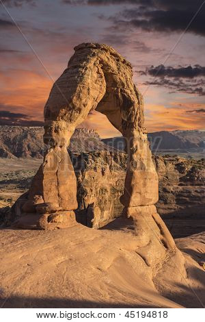 Delicate arch and sunset sky in Arches National Park, Moab Utah.