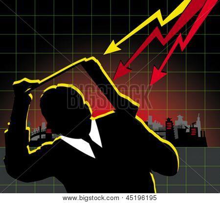 Financial crisis concept. Vector business man hiding under the laptop