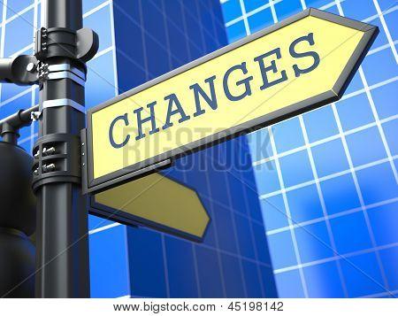 Changes - Road Sign. Motivation Slogan.