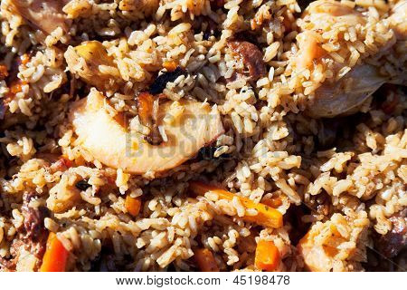 Surface Of Pilau With Quince And Chickpea