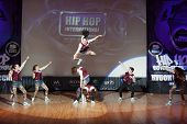 MOSCOW - APR 1: On stage band, called  Furby Crew on Hip Hop International - Cup of Russia 2012 in T