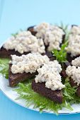 Jewish appetizer with herring