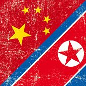 Chinese and North Korean grunge flag. this flag represents the relationships  between North Korea an