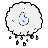 cartoon raincloud with number six