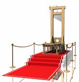 stock photo of beheaded  - Ceremonial red carpet directing to a guillotine - JPG