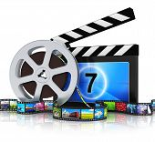 stock photo of reflections  - Cinema movie film and video media industry production concept - JPG