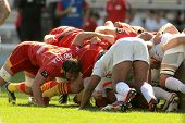 BARCELONA - SEPT, 15: USAP Perpignan players scrumming during the French rugby union league match US