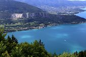 stock photo of annecy  - Annecy lake from col de la Forclaz - JPG