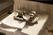 picture of christening  - altar on church with elements for christening - JPG