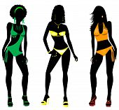 stock photo of monokini  - Vector Illustration of three different swimsuit silhouette women in bikini - JPG