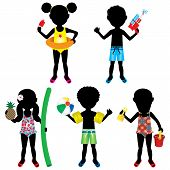 picture of floaties  - Vector Illustration of 5 different summer kids dressed for beach or pool - JPG