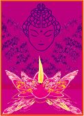 foto of wesak day  - Lotus Oil Lamp with Buddha  - JPG