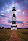 pic of early morning  - Bodie Island Lighthouse Cape Hatteras National Seashore Outer Banks NC blue and pink sunrise in Nags Head North Carolina - JPG