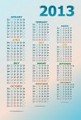 Vintage Year 2013 Calendar, art illustration