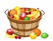 image of wooden basket  - Vector illustration of wooden basket with various fruits isolated on a white background - JPG