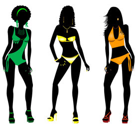 stock photo of monokini  - Vector Illustration of three different swimsuit silhouette women in bikini - JPG