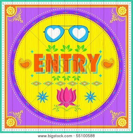 illustration of Entry Poster India truck paint style