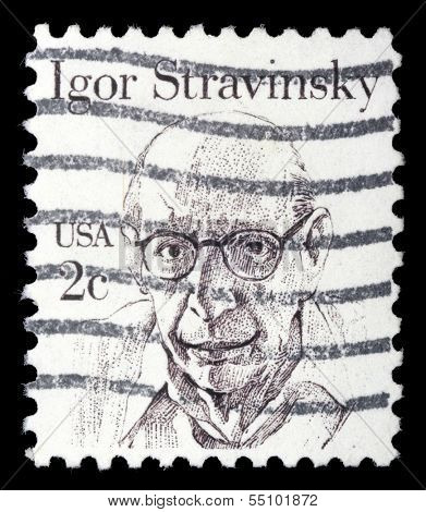 UNITED STATES OF AMERICA - CIRCA 1980: A stamp printed in the USA shows image of composer Igor Stravinsky, circa 1980