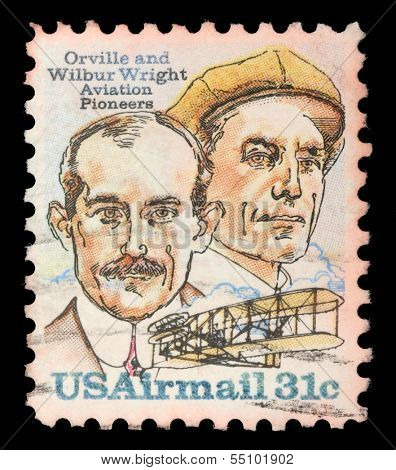 UNITED STATES OF AMERICA - CIRCA 1995: A Stamp printed in USA shows image of the brothers Orville and Wilbur Wright - American aviation pioneers, circa 1995