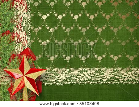 Christmas Greeting Card With Branches Of Spruce, Star And Ribbons