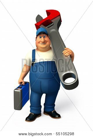 Young Plumber with tools