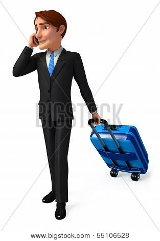 Young Business man walking with traveling bag