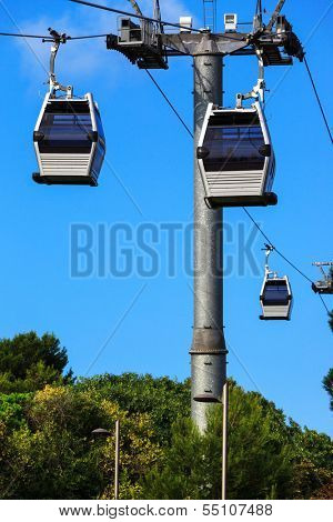 cable railway on a background of blue sky