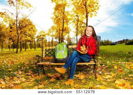 11 Years Old Girl After School In The Park
