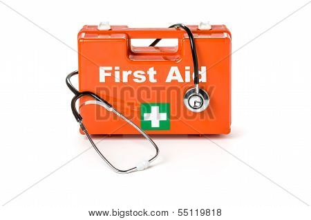 First aid kit with stethoscope on a white background