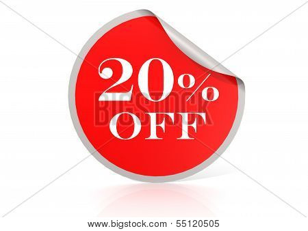 Red round sticker for 20 percent discount