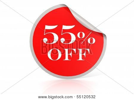 Red round sticker for 55 percent discount