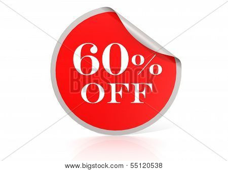 Red round sticker for 60 percent discount