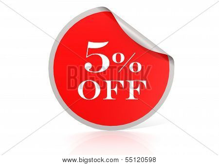 Red round sticker for 5 percent discount