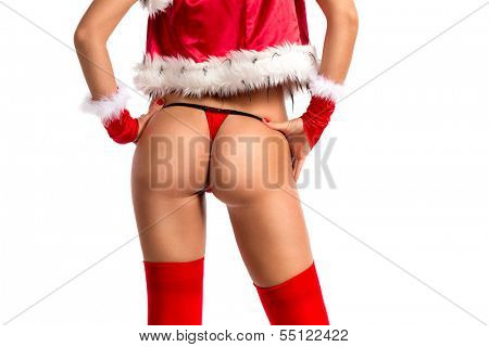 Sexy buttocks of Christmas girl, isolated over white