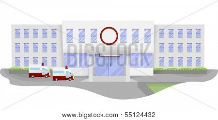 Illustration of a Large Hospital with Ambulances Waiting in the Parking Lot