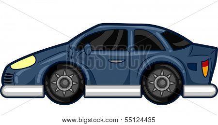 Illustration Featuring a Stylish Blue Car