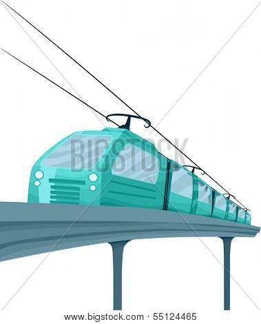 Illustration Featuring a Stylish Blue Electric Train