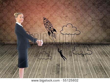 Composite image of happy blonde businesswoman looking at camera