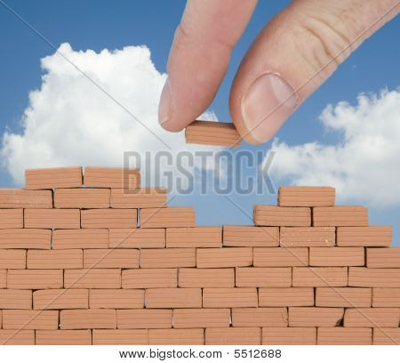 brick on the wall with sky