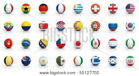 Soccer balls with various flags isolated on white