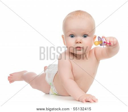 6 Month Child Girl Lying Happy Holding Baby Nipple Soother