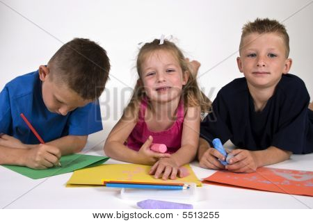 Three Kids Coloring